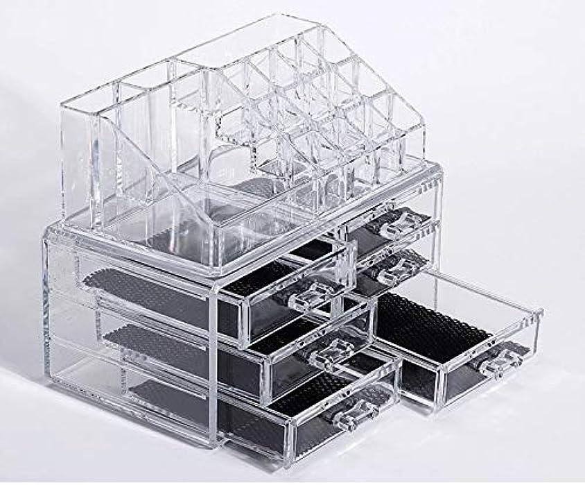ボトル冷ややかなトランスペアレント化粧品収納ボックス メイクケース メイクボックス コスメボックス 騒音なし 防塵 高透明度 強い耐久性 整理簡単 引き出し小物