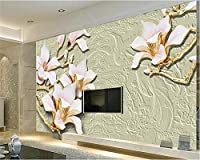 Weaeo 壁紙3D壁画の装飾の壁紙マグノリアの花の写真モダンなリビングルームのホテルレストランの壁-450X300Cm