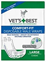 Vet's Best 12 Count Comfort Fit Disposable Male Dog Wrap, Large by Vet's Best