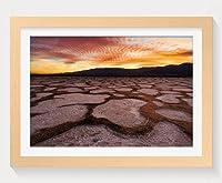 壁掛けインテリア絵画 - カリフォルニア州デスバレー砂漠のサンセット - 天然木の色 壁掛け モダン インテリア アート 風景画 装飾 壁飾り 部屋の装飾 ポスターー - 40cmx30cm