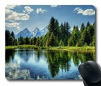 木々と雪山の湖の風景カスタマイズされたマウスパッド長方形のマウスパッドゲーミングマウスマット07100434