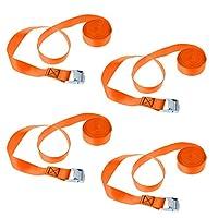 Dovewill 4個 ポリエステル ストラップ ラッシングストラップ 金属製 カムロックバックル 全5色 - オレンジ