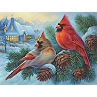 Bits and Pieces - 300 Piece Jigsaw Puzzle for Adults - Winter Cardinals - 300 pc Birds in the Winter Jigsaw by Artist Oleg Gavrilov