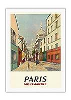 パリ、フランス - モンマルトル - 聖心 - ルーデュシュヴァリエ・デ・ラ・バレ - ビンテージな世界旅行のポスター によって作成された モーリス・ユトリロ c.1953 - 美しいポスターアート
