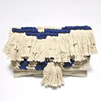 【Swaraj Bag】手織りジャガードフリンジクラッチ-BLUE