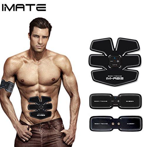 IMATE レーニングベルト エクササイズベルトスリミングベルトダイエットベルトシェイプアップベルブラックアブズベルトウエストサポーターABトレーナー 服の下に装着しても目立たない/ダイエット脂運動機械ながら用/USB充電式で便利/超薄軽で携帯便利