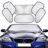 車用サンシェード、PEYOU 6枚セット 全窓カバーフロントガラス 軽量 簡単に取り付け UV 紫外線対策 折り畳み 収納袋付き ガラス用吸盤も付 汎用 フロントガラス サンシェード 遮光断熱シェード シルバー 日よけ用品 …