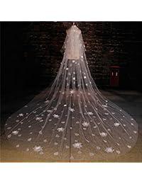 シュウクラブ- 韓国のベール美しいベールの花大きなタトゥー糸長いロングウェディング結婚式のベール