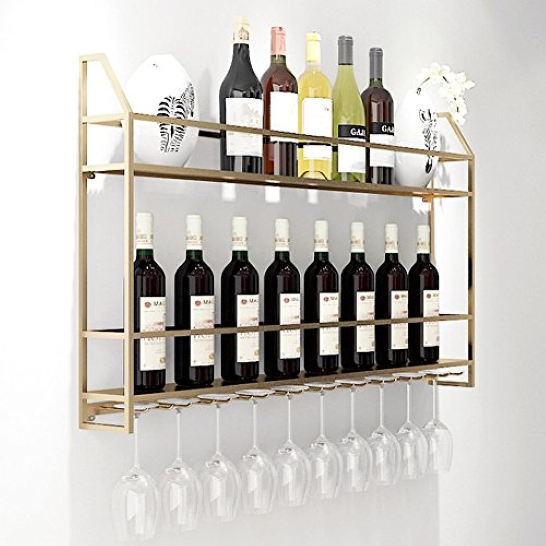 ウォールマウントワインラックボトルストレージ&ガラスメタルホルダーホームインテリアリビングルームまたはキッチン用 (色 : ゴールド, サイズ さいず : 60*12*62CM)