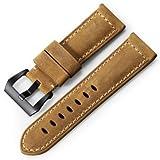 iStrap Paneraiパナライベルト24mmカーフレザー時計バンド 柔軟手縫い復古時計ベルトフィッシュテールバックル尾錠付き