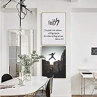 信仰ポスターからの短い引用聖書のキャンバスの絵のリビングルームの家の装飾のための画像-50x70cmx2個フレームなし