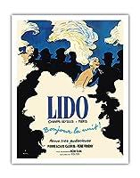 リドキャバレー - シャンゼリゼパリ、フランス - 夜こんにちは! - ビンテージな劇場のポスター によって作成された ルネ・グリュオ c.1971 - アートポスター - 28cm x 36cm
