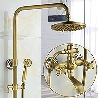 LJ ヨーロッパスタイルのレトロな青と白の磁器すべての青銅のホットとコールドの蛇口の浴室のシャワーセット ( サイズ さいず : C2 )