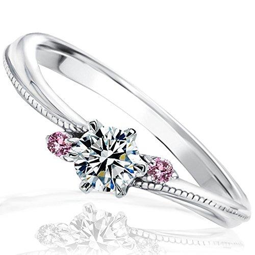 [ミワホウセキ] miwahouseki プロポーズ 婚約指輪 ピンク サファイア 付き プラチナ 最高の輝きを放つ ダイヤモンド 0.2ct 鑑定書付 6.5号 [M324PS]