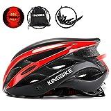 KINGBIKE 自転車 ヘルメット 大人用 ロードバイク/サイクリング ヘルメット 超軽量 高剛性 LEDライト・ヘルメットレインカバー付き 男女兼用 56-60CM M/L (M/L(56-60CM), ブラック&レッド)