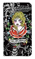 スマホケース 手帳型 ベルトなし scv32 ケース 8191-D. Calif Rose Girl scv32 手帳型 かわいい [Galaxy A8 SCV32] ギャラクシー エーエイト
