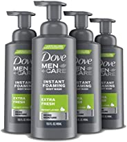 Dove Men+Care Foaming Body Wash For Dry Skin Extra Fresh Foam Cleanser and Bodywash for Men 13.5 oz 4 count