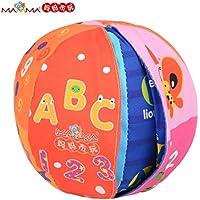 Mamma Kiddie Changeableサーフェスベビーボールでベルの内側、Roll Overイメージと単語をズームinマルチカラー学習布ボールfor Kids Toddlers MAMMA Kiddie