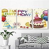 寝室用壁画 かわいいキャンディーの構成 おいしいケーキ 紙吹雪 パーティーハット バルーン アート装飾 12インチ x 18インチ 3ピース フレーム入りキャンバスプリント 水彩ジークレー すぐに掛けられる ホームデコレーション 多色 12