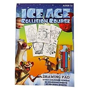 Ice Age衝突コース–a4図面、カラーリングパッドwith Pencils–30シートカラーリング、20シートホワイト