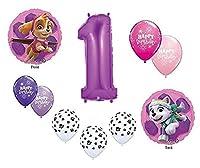 Girl 's Paw Patrol犬1st # 1Firstパープル10Piece Birthday Party Mylarラテックスバルーンセット。。。Plus ( 1) 66' Roll of Curlingバルーンリボン