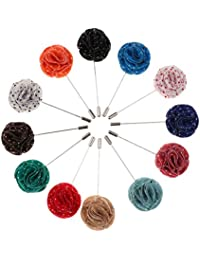 MagiDeal 12Pcs Handmade Flower Lapel Men Brooch Pin Boutonniere Wedding Accessories