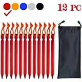 18cm 12Pack Tent Stakes Pegs Aluminum Alloy Heavy Duty Lightweight for Outdoor Activities, Such as Camping, Hiking and Emergency Survival (12PC)