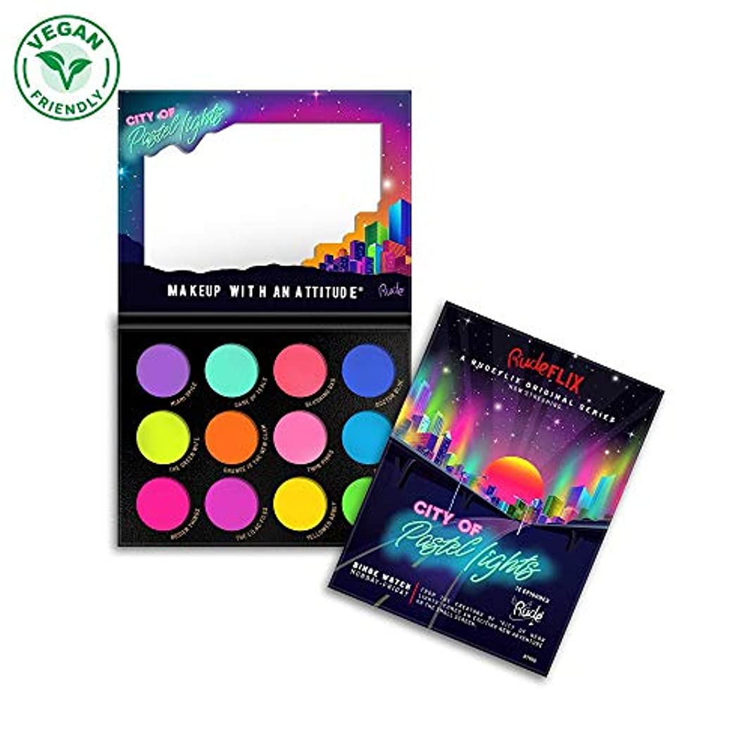 ビーチ委員会パーティーRUDE City of Pastel Lights - 12 Pastel Pigment & Eyeshadow Palette (並行輸入品)