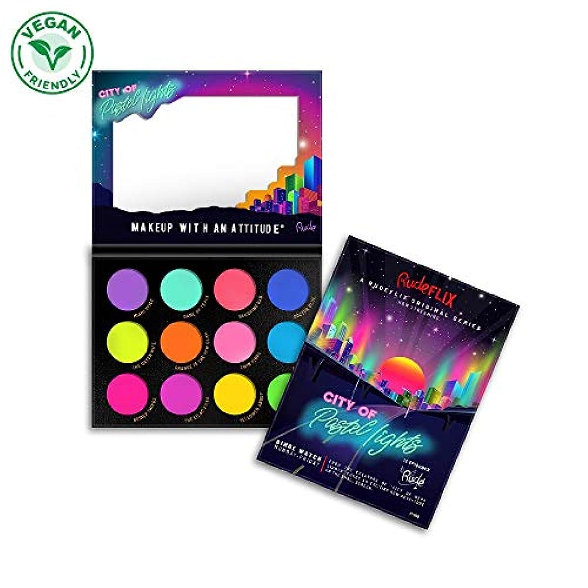砲撃一貫したラメRUDE City of Pastel Lights - 12 Pastel Pigment & Eyeshadow Palette (並行輸入品)