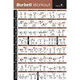 BARBELL WORKOUT EXERCISE POSTER LAMINATED - Home Gym Weight Lifting Chart - Build Muscle Tone & Tighten - Strength Training Routine - Body Building Guide w/ Free Weights & Resistance - 20x30