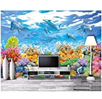 Wuyyii 3D部屋の壁紙カスタム写真のHd水中世界サンゴイルカ家の装飾3D壁壁画壁紙用壁3 Dプリント生地