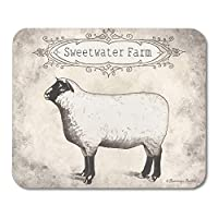 中立羊の子羊農家羊ファーム動物ヴィンテージ有機マウスパッド