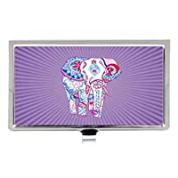 花のインドの種族の象の紫のストライプの特殊効果デザイン ファッション ステンレス 名刺入れ カードケース