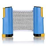 Sumnacon ポータブル卓球ネット 開閉式 卓球 収納袋付き (ブルー+イエロー)