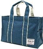(ディアリー ウィッシュ) Dearly wish トートバッグ シャンブレー素材 ミドルトート ファスナー付き 3color Free ブルー