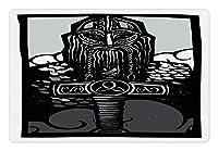 食べ物と水のためのバイキングペットマット、オーディンモノクロデザインアスガルドスカンジナビア文化の守護者のトールソン、犬と猫のための滑り止めゴムマット、、ブラックグレー 80x50cm