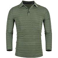 iWoo Men's Long Sleeve Polo Shirts Golf Tennis Stripe T-Shirt Quick-Dry Polos T Shirt Light Weight