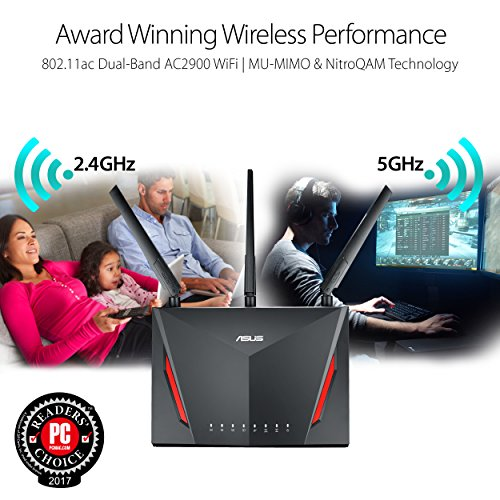 『ASUS AC2900 WiFi Dual-band Gigabit Wireless Router with 1.8GHz Dual-core Processor and AiProtection Network Security Powered by Trend Micro, AiMesh Whole Home WiFi System Compatible (RT-AC86U) 141[並行輸入]』の1枚目の画像