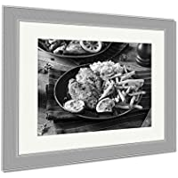 """Ashleyフレームプリント、Spicy Homemade Baked Cajun Catfish 34"""" x 40"""", Silver Frame 6467269-AFPL1-SB24"""