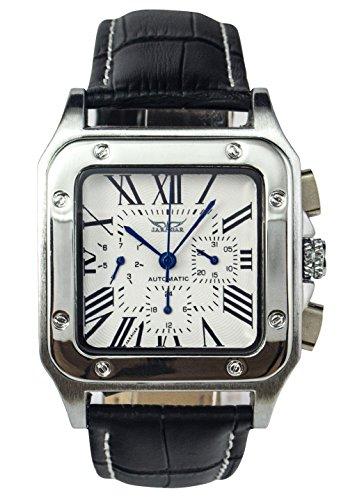 GuTe出品 スクエアフェース ローマ数字 トリプルカレンダー ブラック 革バンド 六針 ホワイト 機械式 メンズ 自動巻き腕時計