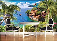Bzbhart 3Dデザイン ウォール壁画壁紙ブルーコーストココナッツの花と鳥の装飾画像壁紙用リビングルーム-250cmx175cm