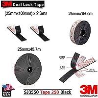 3M デュアルロックファスナー ブラック SJ3550 最大の耐熱性 金属類・ガラス・プラスティックに最適 屋内屋外両用 ((25mmx100mm) x 2 Sets)