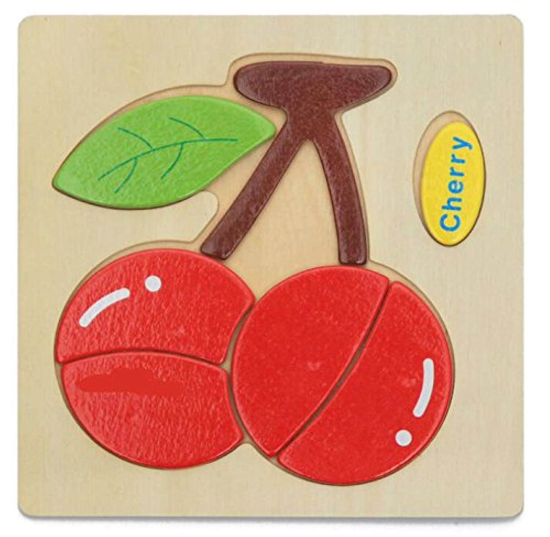 HuaQingPiJu-JP ブランドの新しい木製の教育的なパズルアーリーラーニング番号の形の色の動物のおもちゃキッズ(チェリー)のための素晴らしいギフト