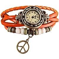 Lookatool Lady Women's Peace Symbol Quartz Weave Around Leather Bracelet Wrist Watch (Orange)