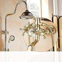 浴室のシャワーセット ヨーロッパスタイルのゴールデンシャワーセットシャワーセット温水シャワーと冷水シャワーの蛇口を備えた完全な銅バスルーム金色のシャワー設備 (設計 : B)