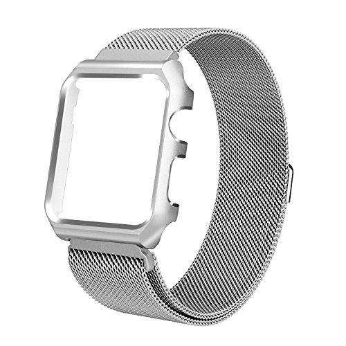 AHXLL Apple Watch バンド, アップルウォッチ バンド ステンレス保護ケース付き マグネット締め金 金属ステンレス 交換バンド ベルト For iWatch Series 3 / Series 2 / Series 2 / Nike+ / Edition (Silver, 42MM)