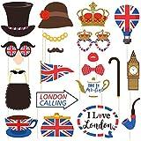 Amosfun 英国写真ブース小道具 ファニーブリティッシュパーティー小道具 英国セルフィー小道具 英国ロンドンナショナルデーパーティー装飾用 20個パック