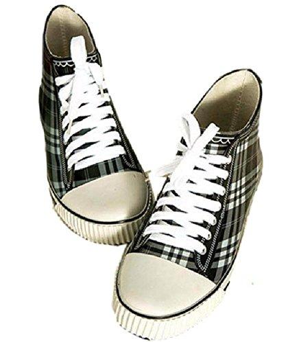 【SCGEHA】レインブーツ ショート 長靴 レディース キッズ 女の子 防水 チェック スニーカー 風 おしゃれ かわいい 3カラー 23.5cm 24.5cm 25.5cm 3サイズ (ブラック/25.5cm)