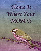 HOME IS WHERE YOUR MOM IS: Lined Journal With Motivational Quotes - Songbird On A Budding Branch - Fabric Background