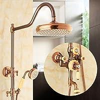 Mariny- ヨーロッパスタイルの天然翡翠シャワー装置シャワーセットアメリカンスタイルのすべての青銅模造古代の高温と冷たい蛇口シャワー装置 (設計 : C)